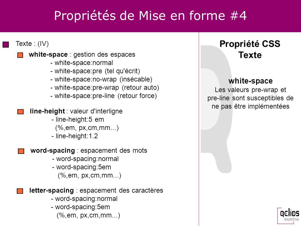 Propriétés de Mise en forme #4