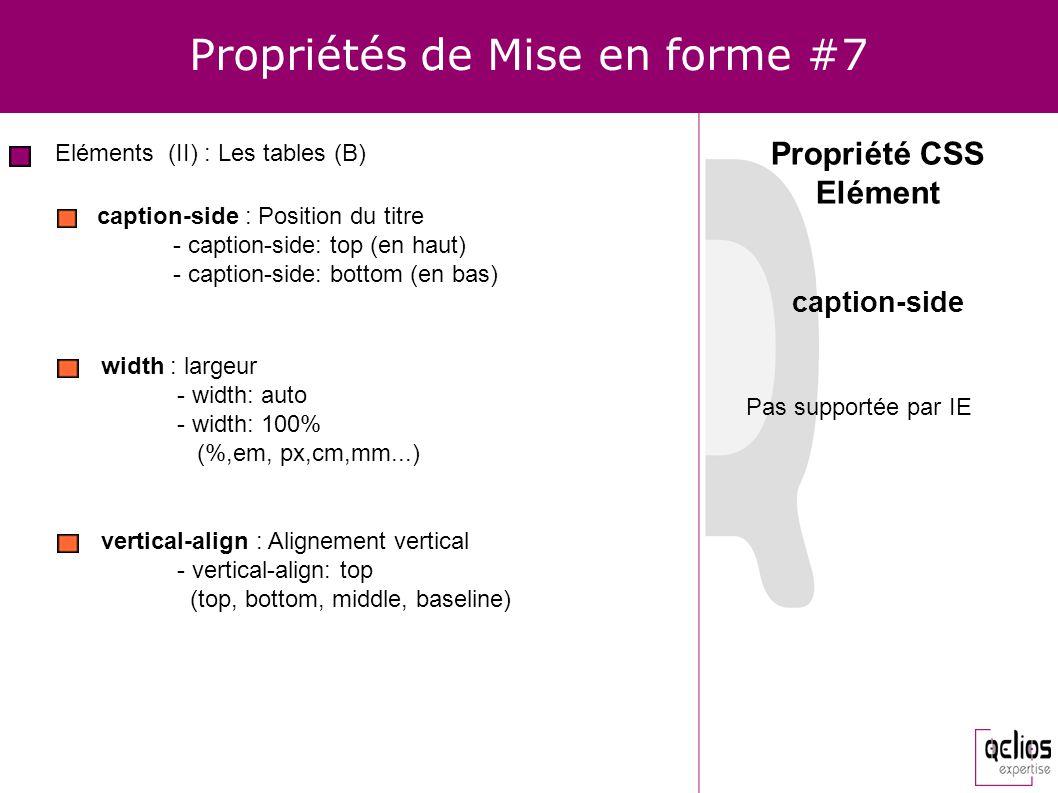 Propriétés de Mise en forme #7