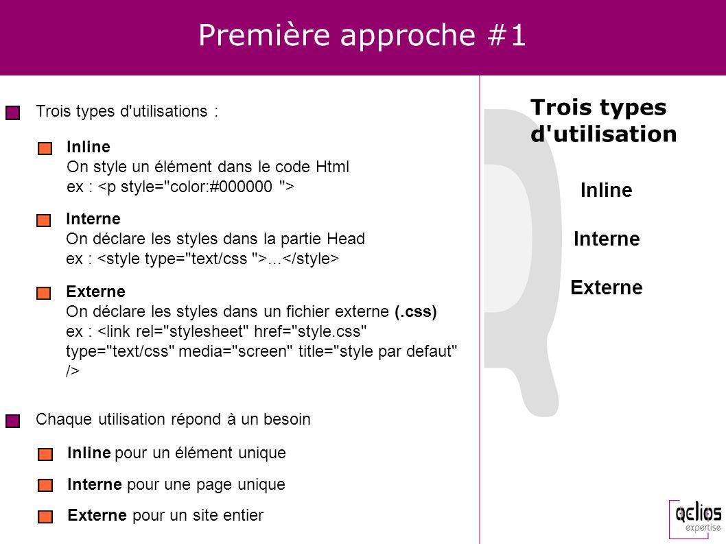 Première approche #1 Trois types d utilisation Inline Interne Externe
