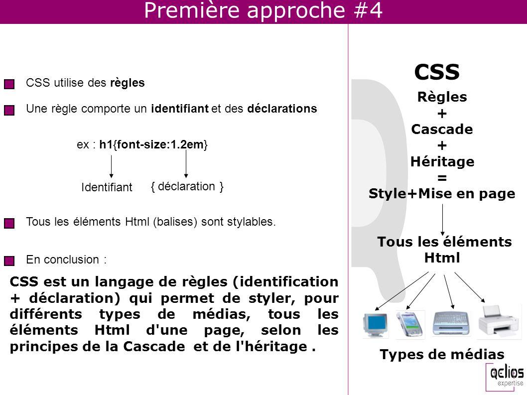 Première approche #4 CSS Règles + Cascade Héritage =