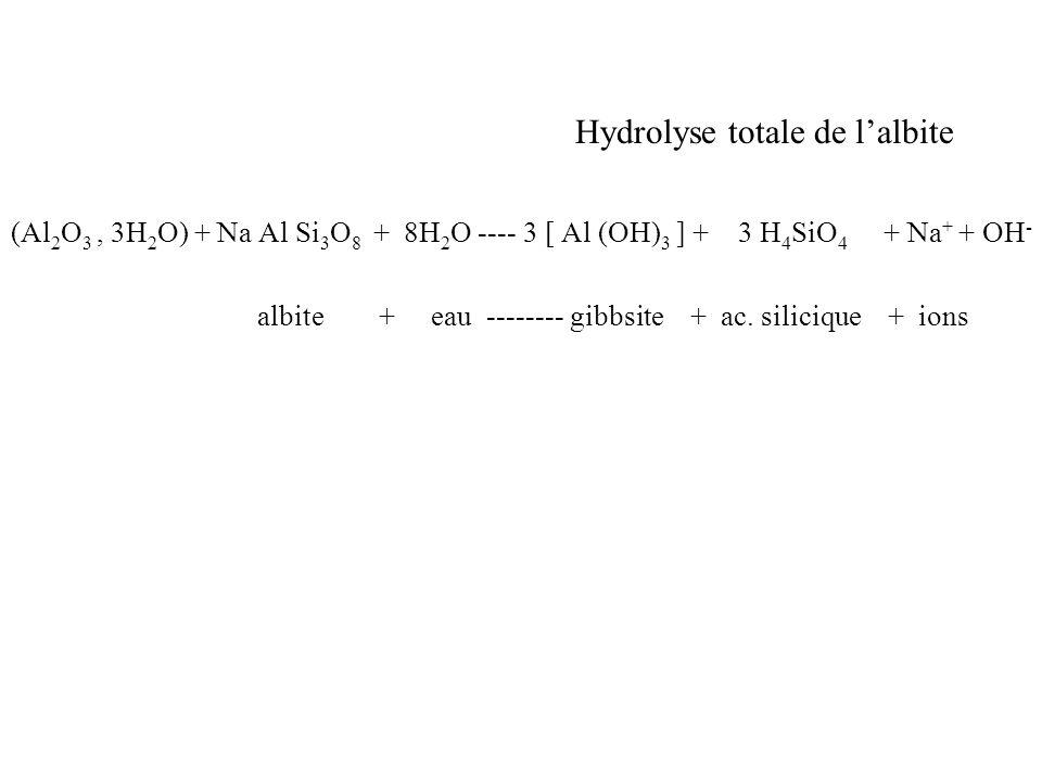 Hydrolyse totale de l'albite