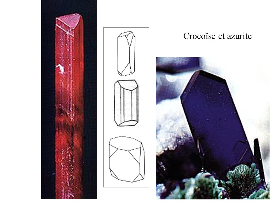 Crocoïse et azurite Ces deux cristaux prismatiques avec face inclinée à la partie supérieure sont caractéristiques du système monoclinique.