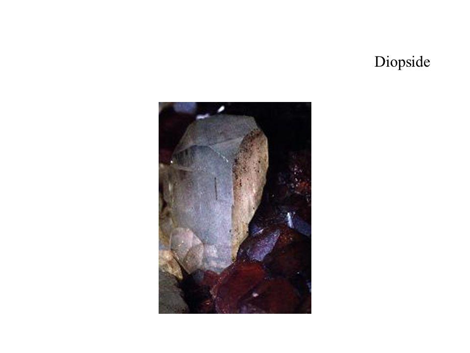 Diopside Le cristal qui semble orthorhombique est un diopside originaire du Piémont en Italie (10 mm), c est en fait un cristal monoclinique.