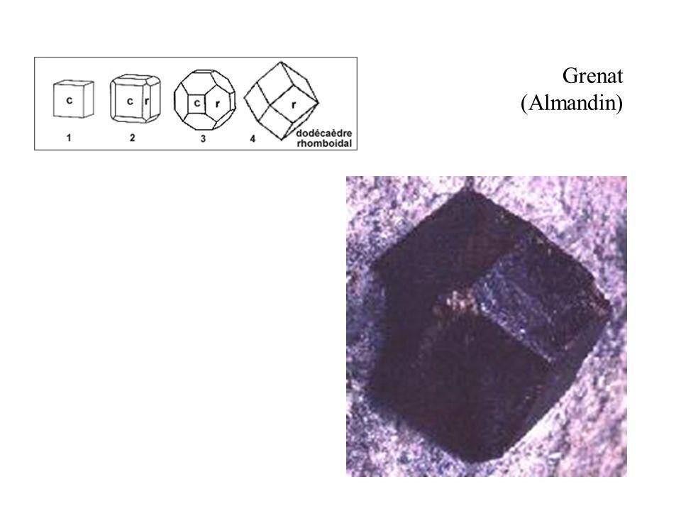 Grenat (Almandin) Dodécaèdre rhomboïdal, la forme la plus courante des grenats.