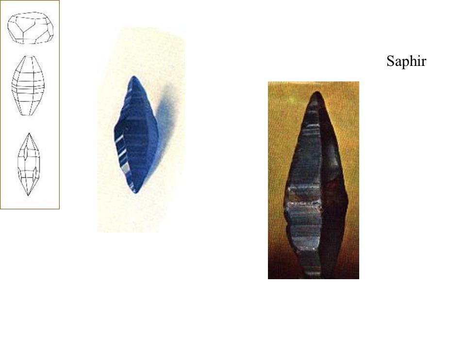 Saphir Le bleu saphir est dû à la présence d oxydes de titane et de fer en proportions variables, qui donnent toutes les nuances, du clair au foncé.