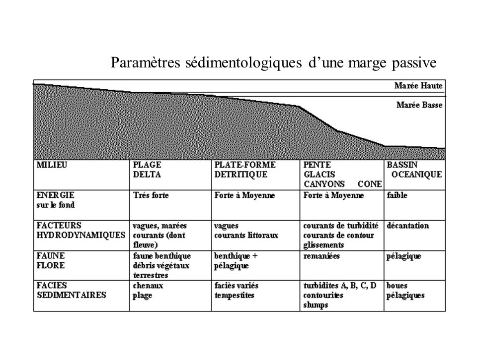 Paramètres sédimentologiques d'une marge passive