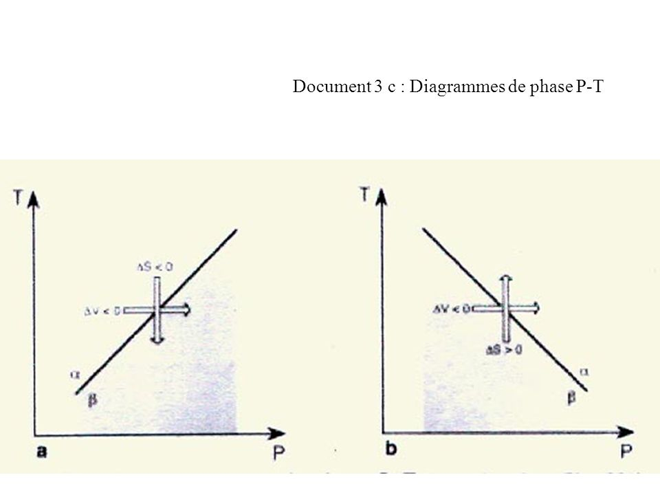 Document 3 c : Diagrammes de phase P-T