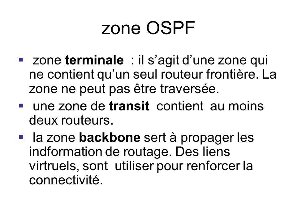 zone OSPF zone terminale : il s'agit d'une zone qui ne contient qu'un seul routeur frontière. La zone ne peut pas être traversée.