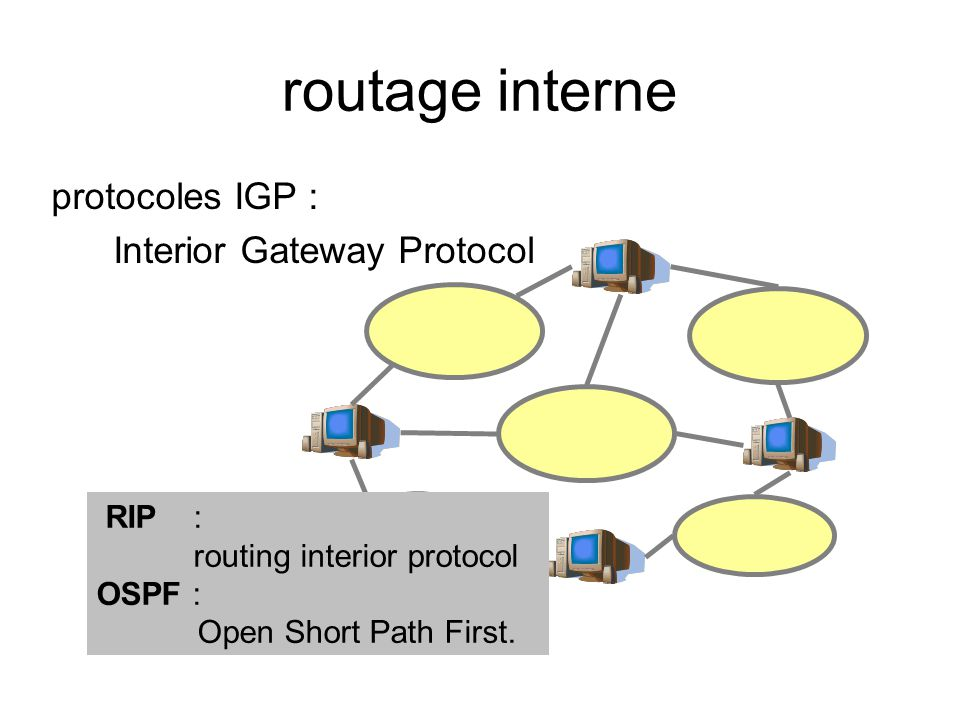 routage interne protocoles IGP : Interior Gateway Protocol