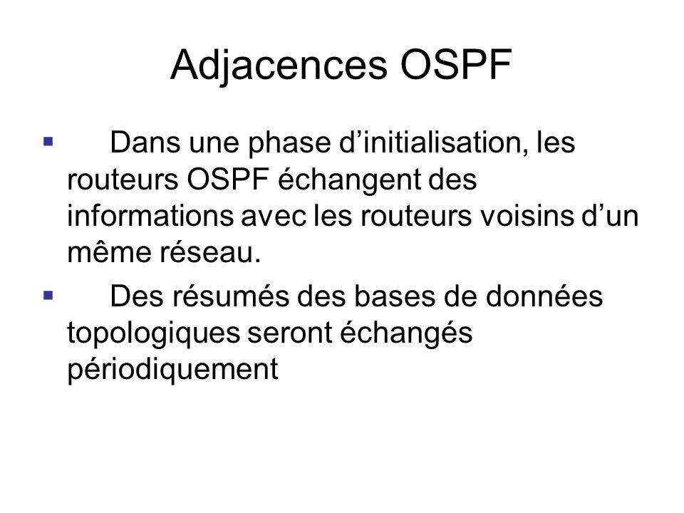 Adjacences OSPF Dans une phase d'initialisation, les routeurs OSPF échangent des informations avec les routeurs voisins d'un même réseau.