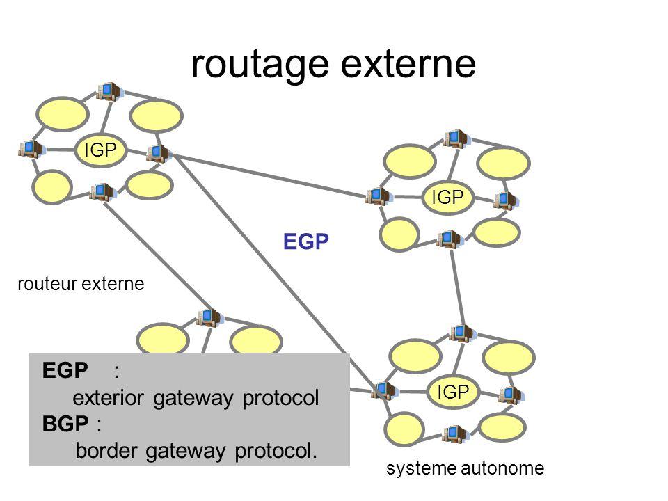 routage externe EGP EGP : exterior gateway protocol BGP :