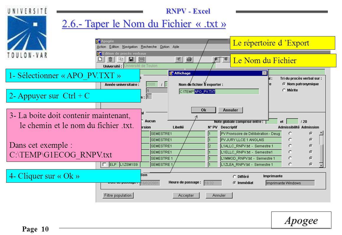 2.6.- Taper le Nom du Fichier « .txt »