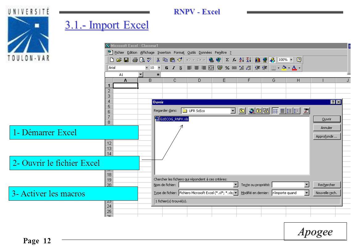 3.1.- Import Excel 1- Démarrer Excel 2- Ouvrir le fichier Excel