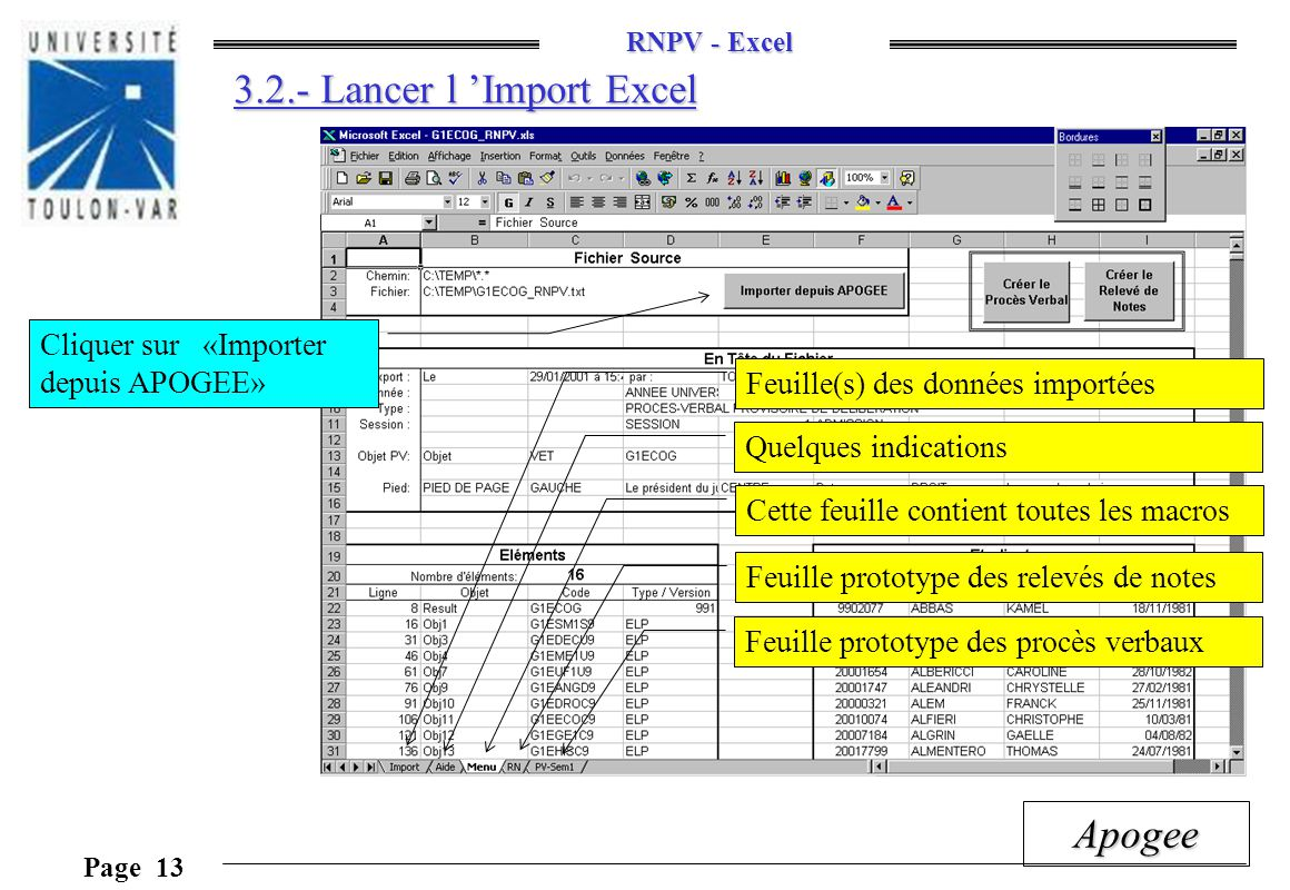 3.2.- Lancer l 'Import Excel
