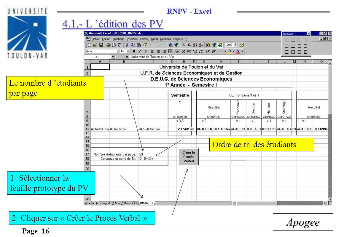 4.1.- L 'édition des PV Le nombre d 'étudiants par page