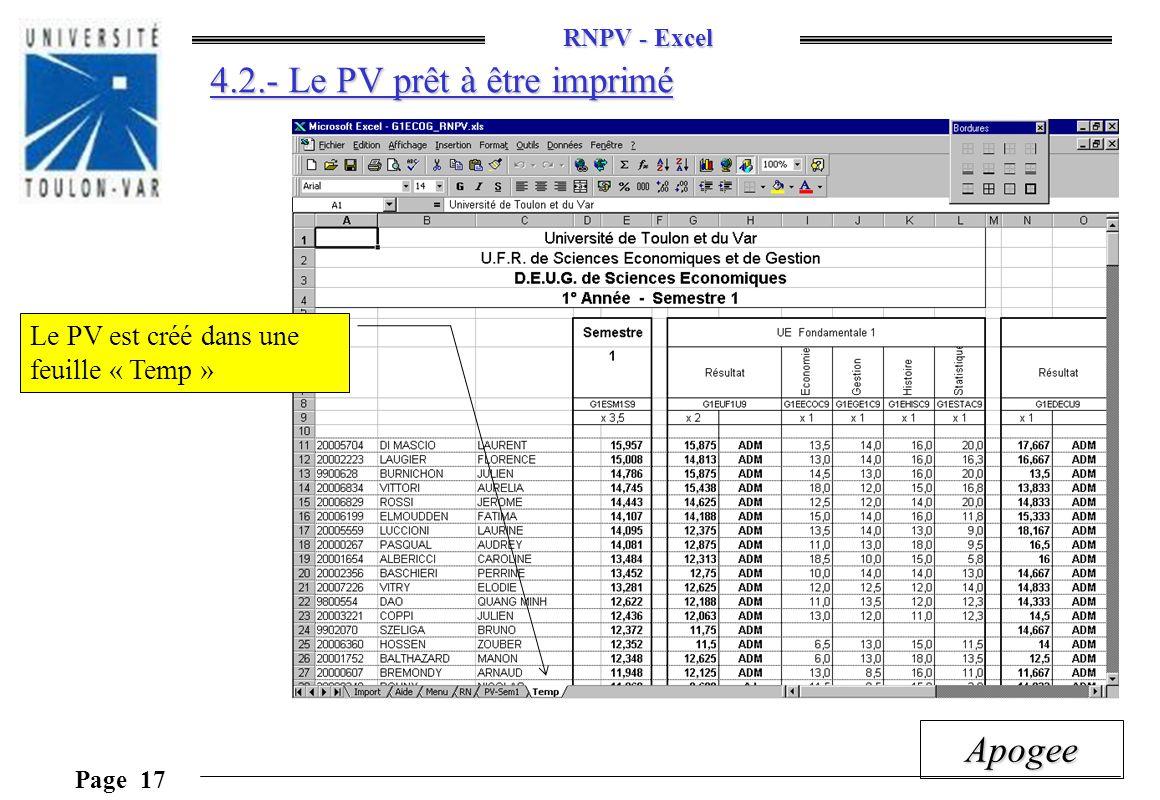 4.2.- Le PV prêt à être imprimé