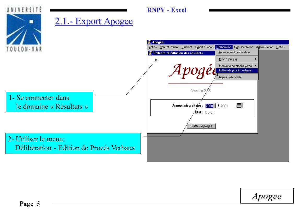 2.1.- Export Apogee 1- Se connecter dans le domaine « Résultats »