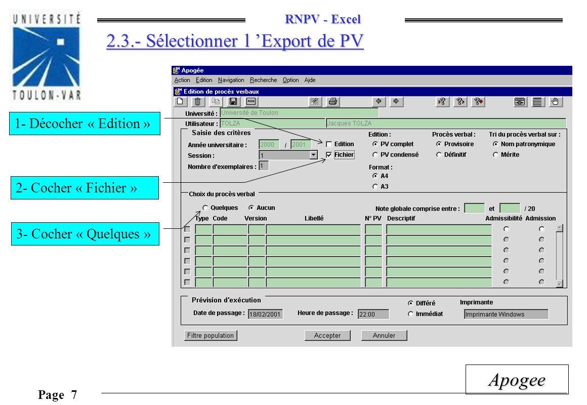 2.3.- Sélectionner l 'Export de PV