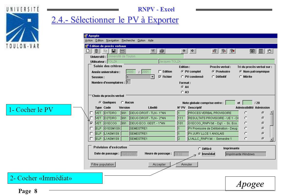 2.4.- Sélectionner le PV à Exporter