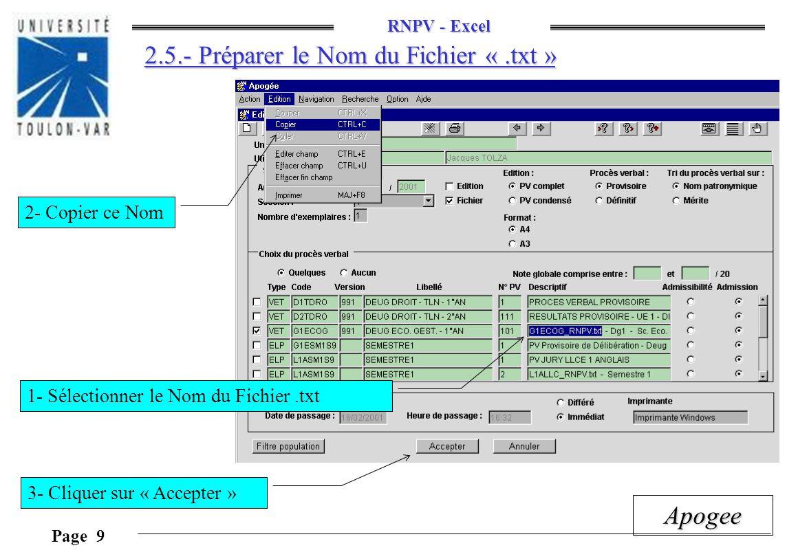 2.5.- Préparer le Nom du Fichier « .txt »