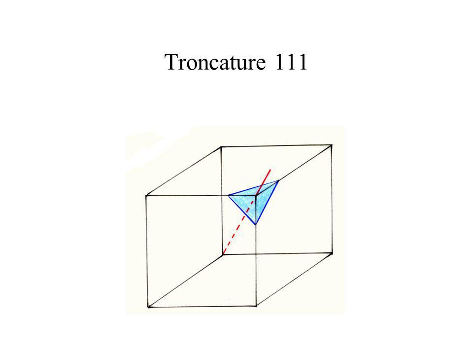 Troncature 111 Troncature 111 revient à enlever l'angle situé dans le plan 111