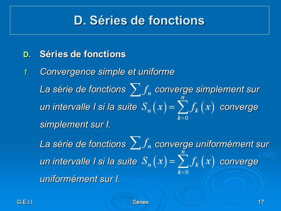 D. Séries de fonctions Séries de fonctions
