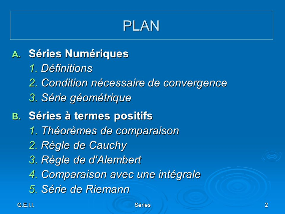 PLAN Séries Numériques 1. Définitions