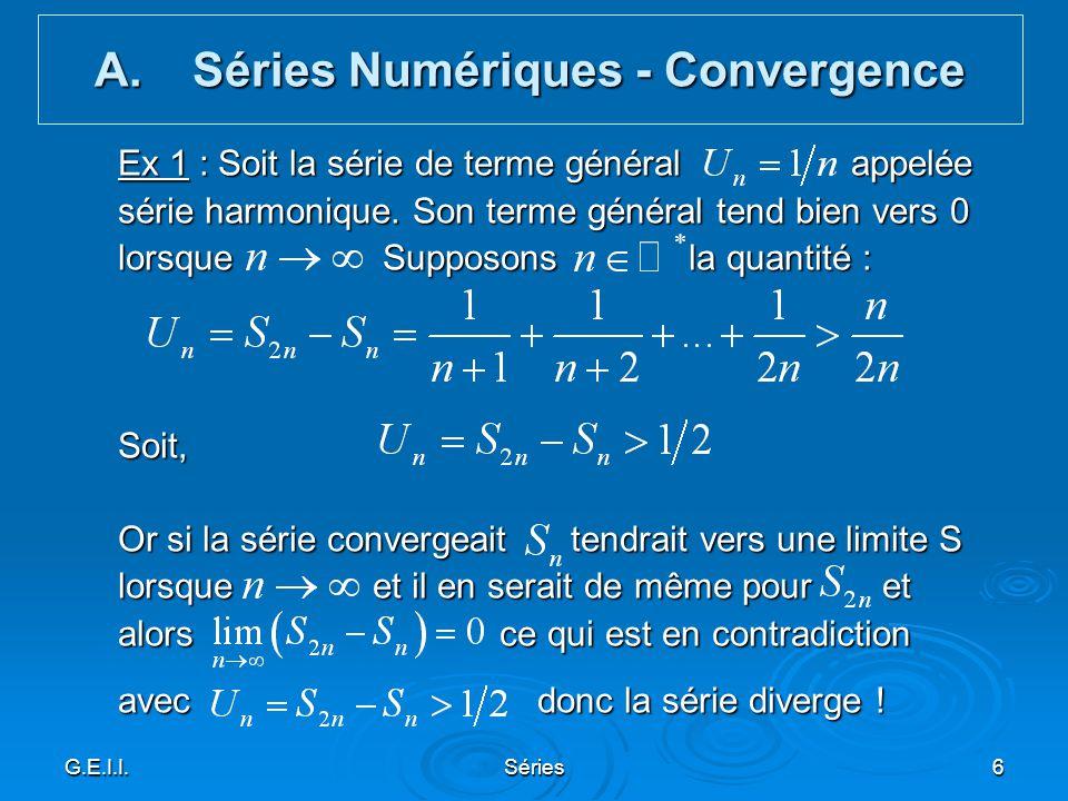 Séries Numériques - Convergence