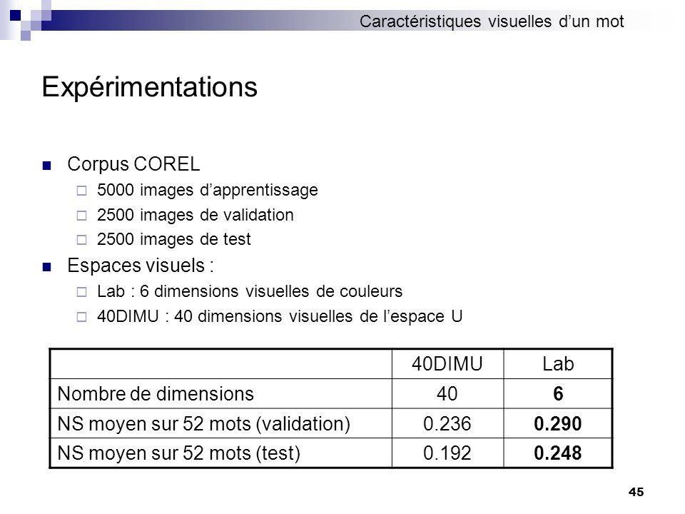 Expérimentations Corpus COREL Espaces visuels : 40DIMU Lab