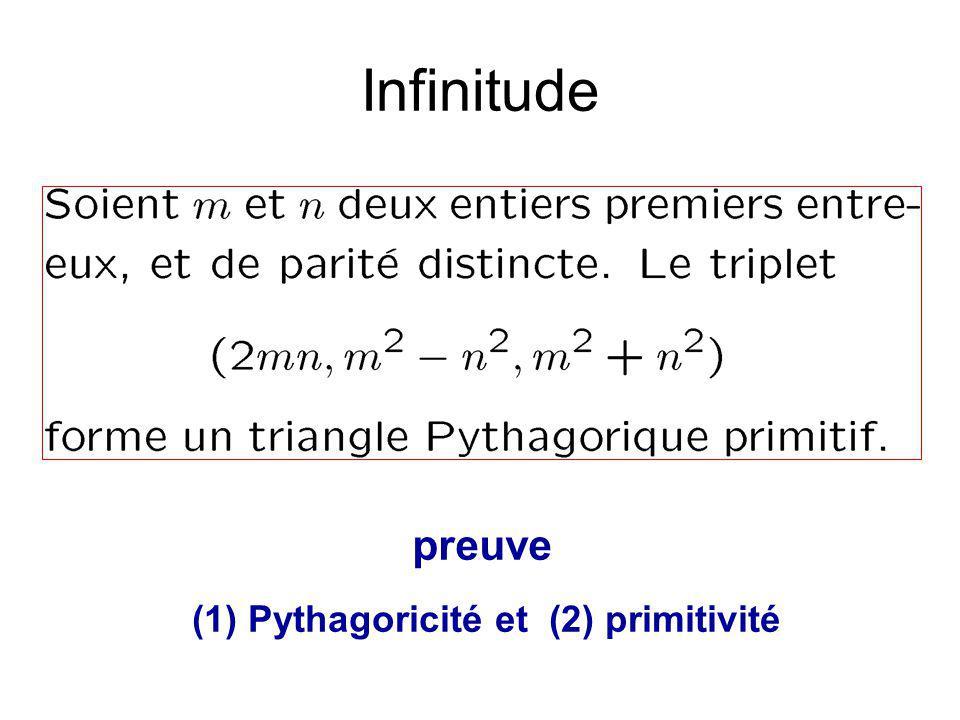 Infinitude preuve (1) Pythagoricité et (2) primitivité