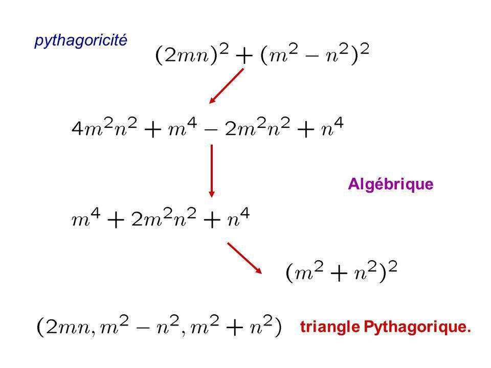 pythagoricité Algébrique triangle Pythagorique.
