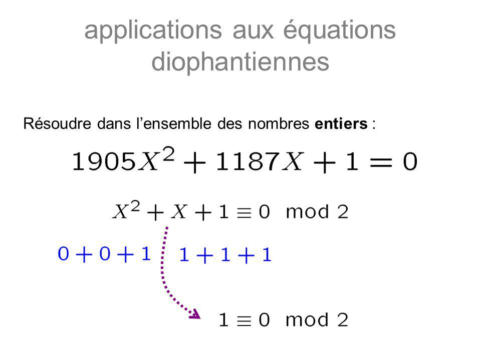 applications aux équations diophantiennes