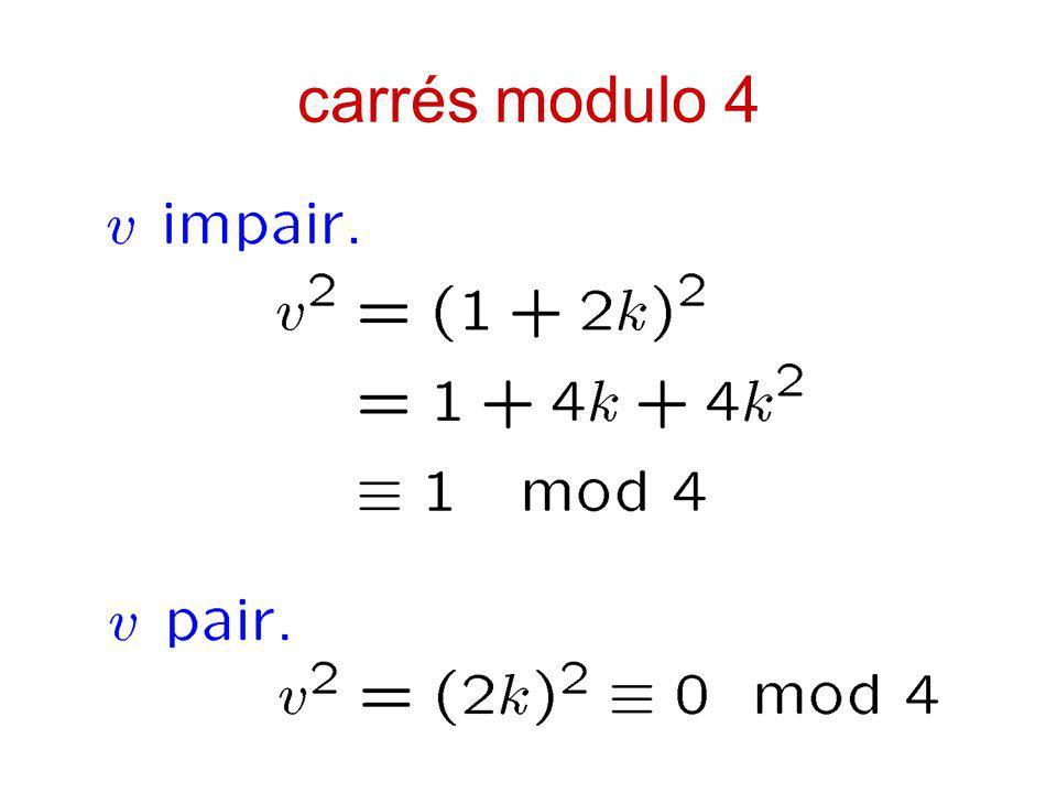 carrés modulo 4