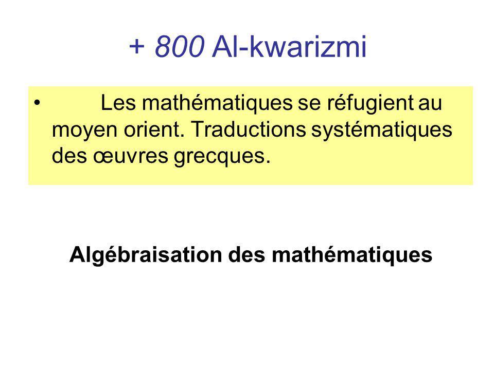 + 800 Al-kwarizmi Les mathématiques se réfugient au moyen orient. Traductions systématiques des œuvres grecques.