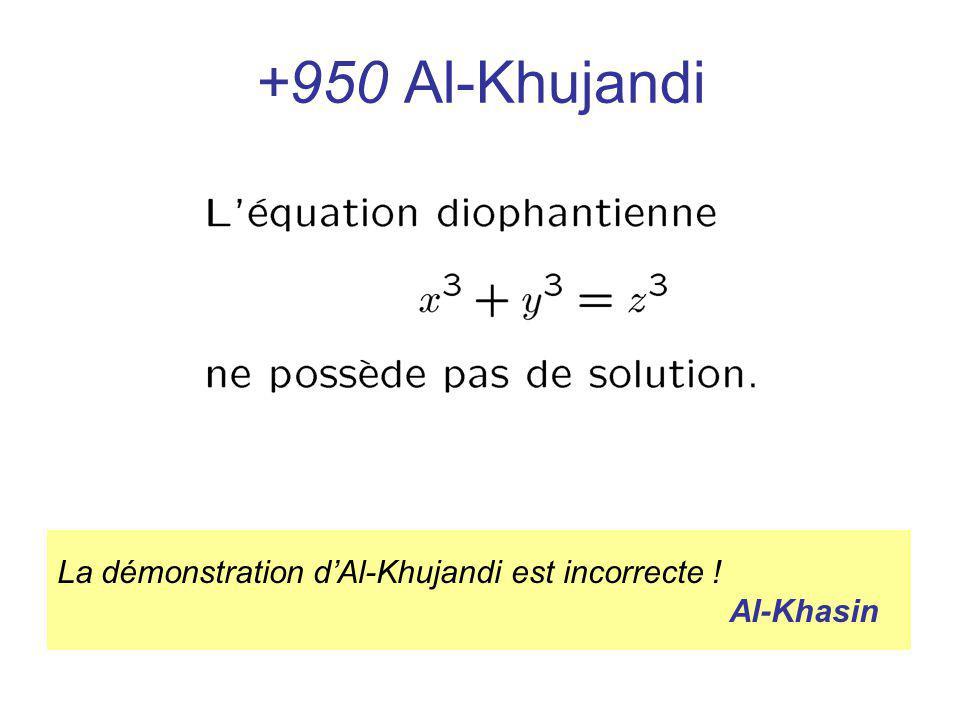 +950 Al-Khujandi La démonstration d'Al-Khujandi est incorrecte ! Al-Khasin