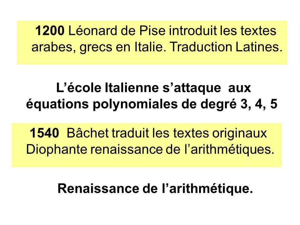 1200 Léonard de Pise introduit les textes arabes, grecs en Italie