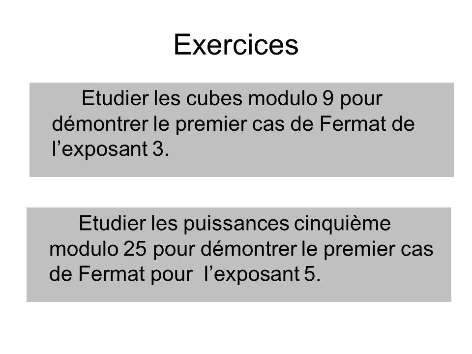 Exercices Etudier les cubes modulo 9 pour démontrer le premier cas de Fermat de l'exposant 3.