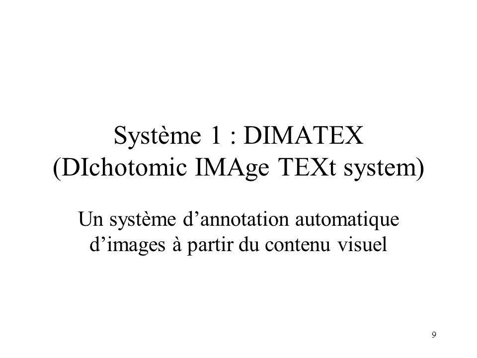 Système 1 : DIMATEX (DIchotomic IMAge TEXt system)