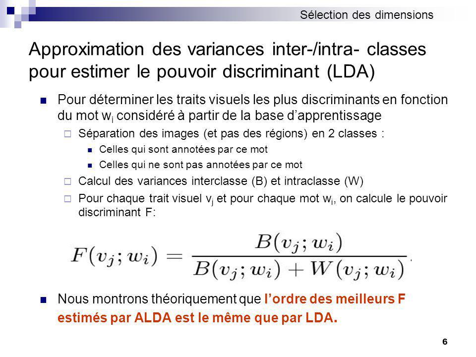 Sélection des dimensions
