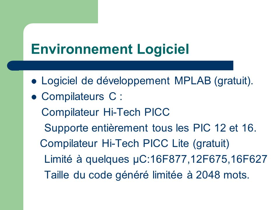 Environnement Logiciel