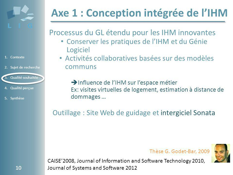 Axe 1 : Conception intégrée de l'IHM