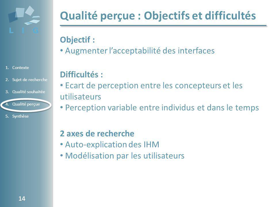 Qualité perçue : Objectifs et difficultés