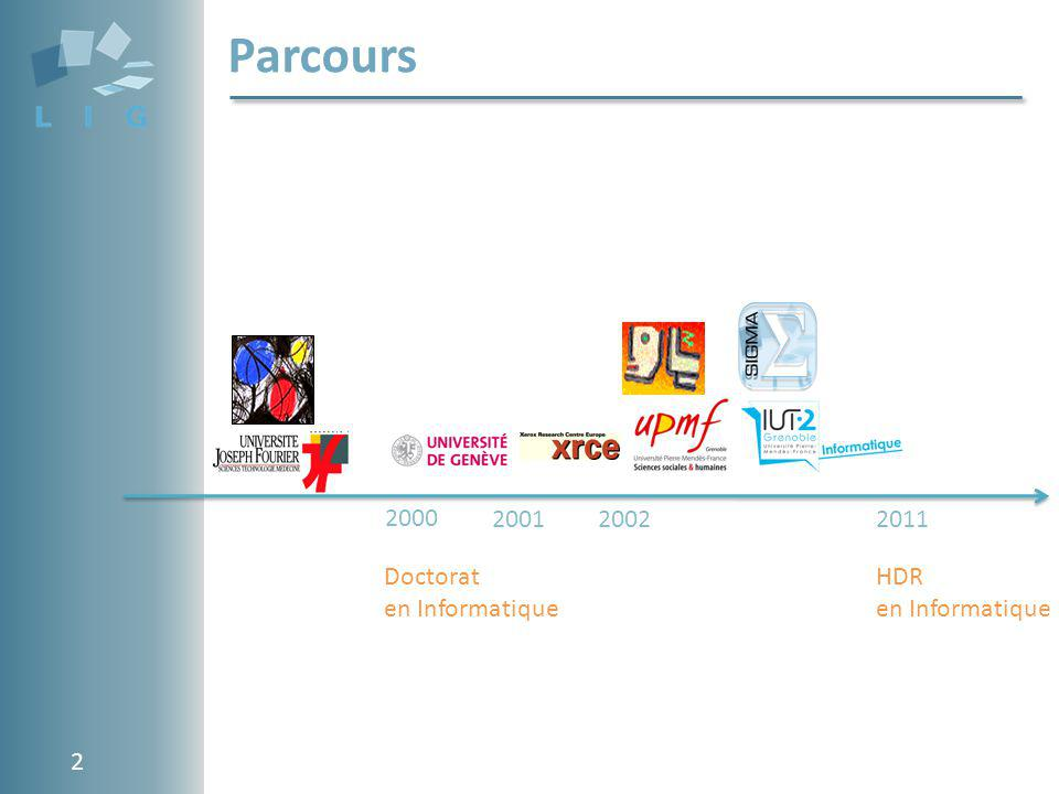 Parcours 2000 2001 2002 2011 Doctorat en Informatique HDR