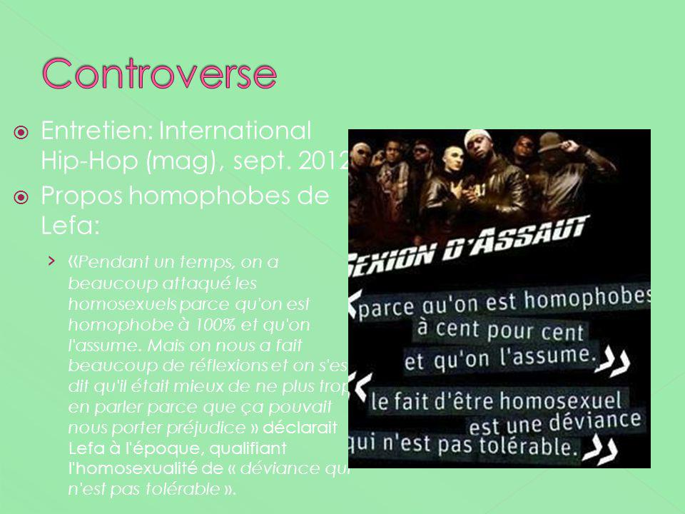 Controverse Entretien: International Hip-Hop (mag), sept. 2012
