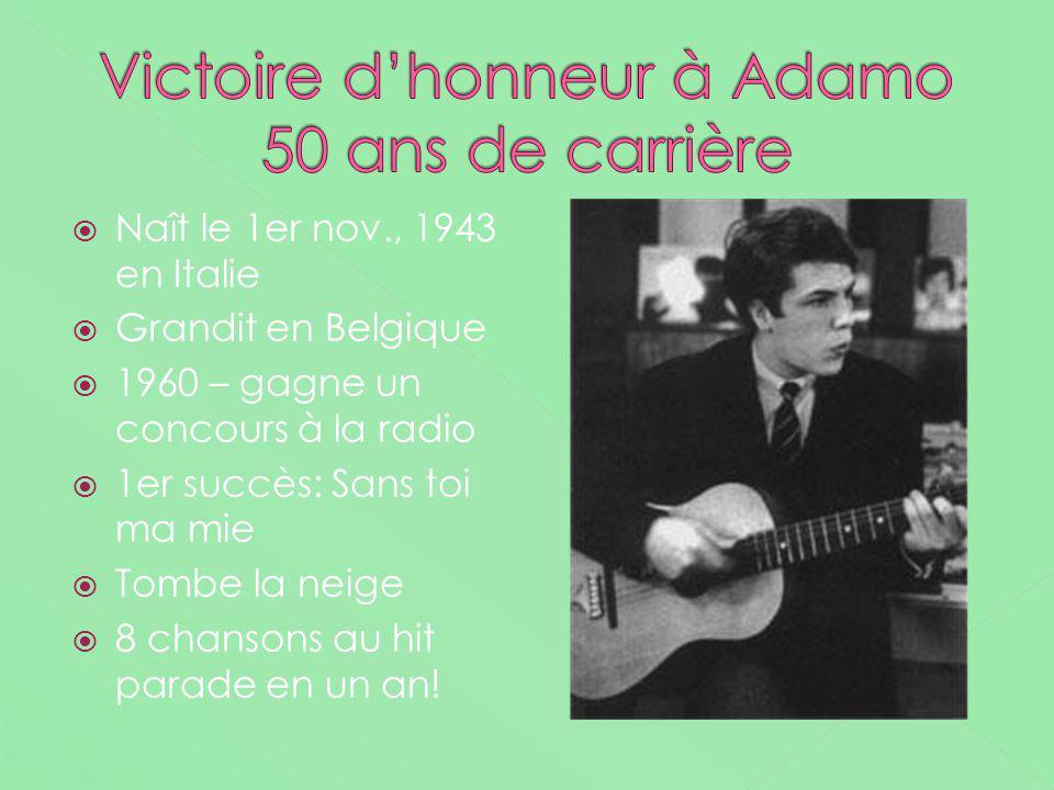 Victoire d'honneur à Adamo 50 ans de carrière