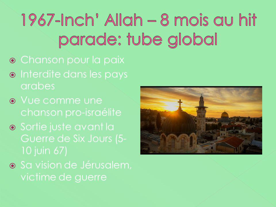 1967-Inch' Allah – 8 mois au hit parade: tube global