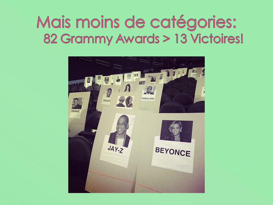 Mais moins de catégories: 82 Grammy Awards > 13 Victoires!
