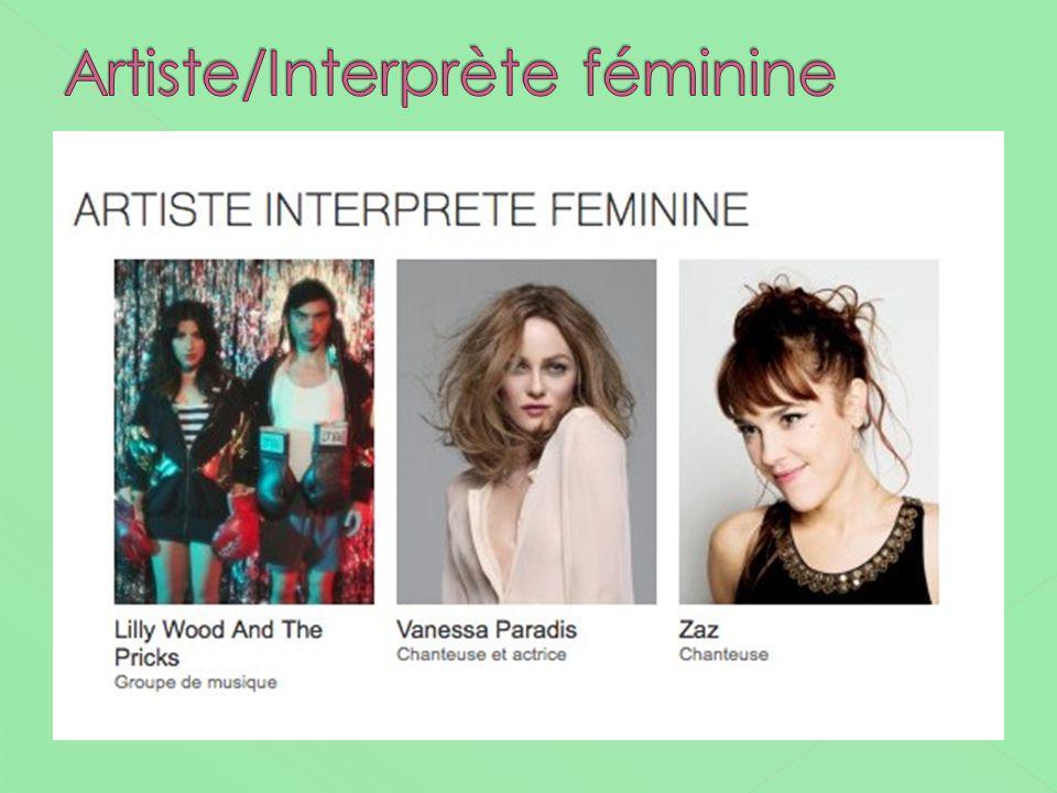 Artiste/Interprète féminine