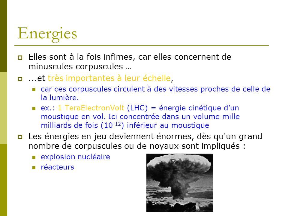 Energies Elles sont à la fois infimes, car elles concernent de minuscules corpuscules … ...et très importantes à leur échelle,
