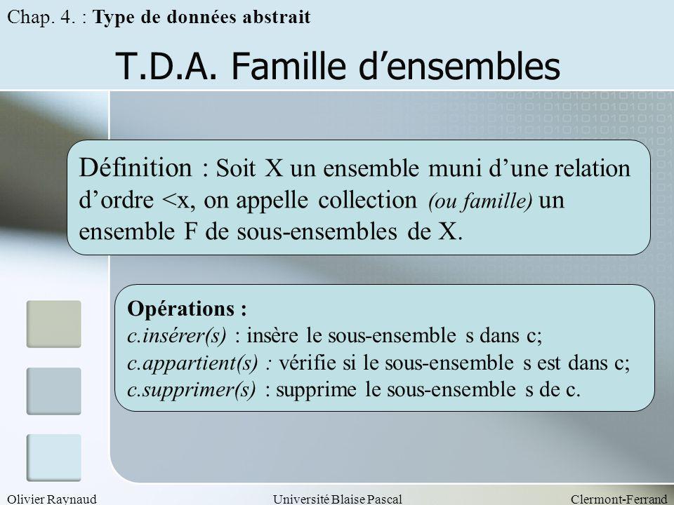 T.D.A. Famille d'ensembles